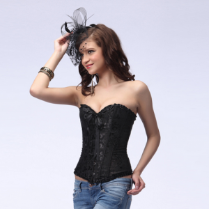 Satin Embroidered Lace Up Corset
