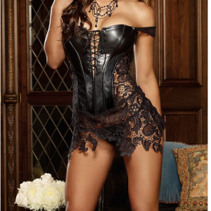 Black Faux Leather&Lace Corset Dress