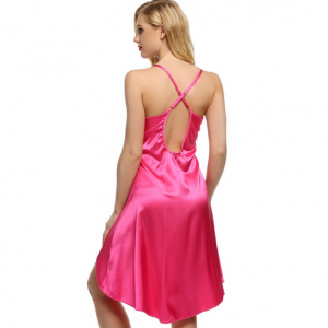 Ladies Sexy Satin Lace Night Dress