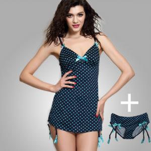 Graphic Strap Sleep Dress & Brief Set
