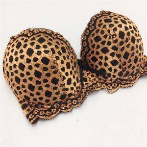 Leopard Lace Thong Bra Set