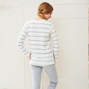 Pajamas, Cotton Stripes Sleepwear, Casual Long Sleeve Nightgown, O-neck Women Pajama Set Bottom Shirts +Long Pants