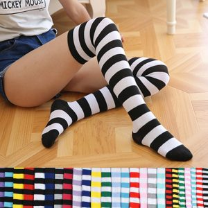 Polyester Fashion Stripe Beauty Tights, Stockings, Multicolor Knee-high Women Sweet Cute Girls Stockings