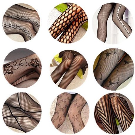 Sexy Women's or Girls, Core Wire Jacquard Club Panties, Knitting Net Thin Pattern Tattoo Fishnet Stockings