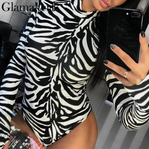 Animal Print Turtleneck, Long Sleeve Bodysuit, Women's Winter Sexy Bodysuits