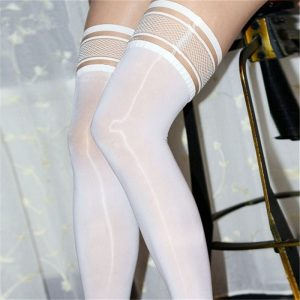 Sexy Lingerie, Women's Oil Shiny Sexy Lace Stay Up Stockings, Female Elastic Thigh High Long Nylon Stockings