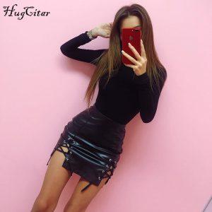 Cotton Long Sleeve, High Neck Bodysuit, Women's Solid Sexy Bodysuit