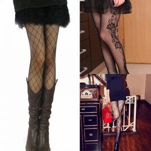 Sexy Women's or Girls, Core Wire Jacquard Club Panties, Knitting Net Thin Pattern Tattoo Fishnet Stockings