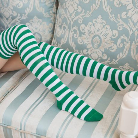 Polyester Fashion Stripe Beauty Tights, Stockings, Multicolor Knee-high Women Sweet Cute Girls Stockings 1