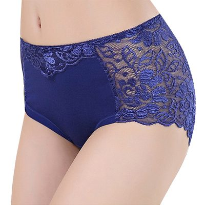 Women's Cotton Underwear, Seamless Briefs, Sexy Panties, Full Transparent Lace