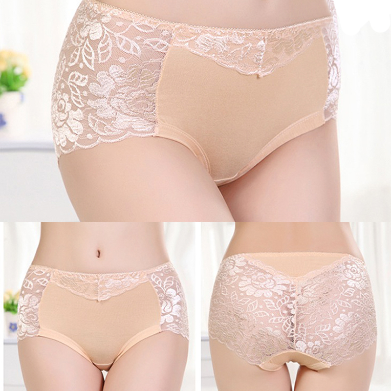 Women's Cotton Underwear, Seamless Briefs, Sexy Panties, Full Transparent Lace 2