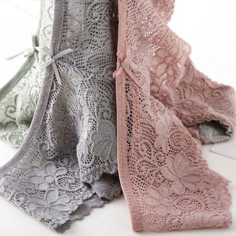 3pcs/lot, Sexy Lace Panties, Women's Fashion Cozy Lingerie, Tempting Pretty Briefs, Cotton Low Waist, Cute Women Underwear 1
