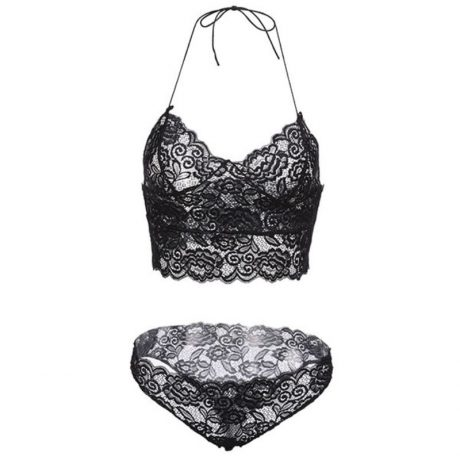 Sexy Lace Bra Set, Hollow Lace Transparent Temptation Underwear, French Style 2