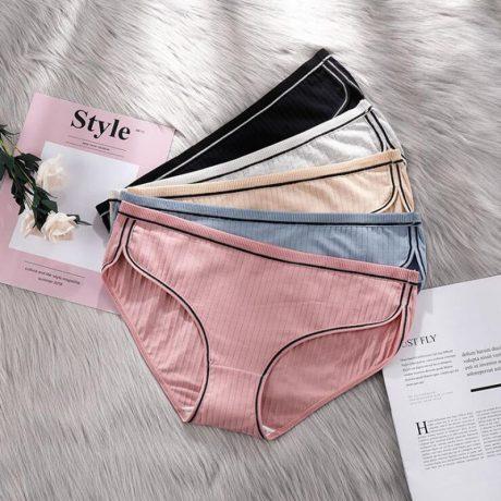 Women's Underwear, Cotton Low-Rise Panties, Briefs Female Striped Lingerie 2
