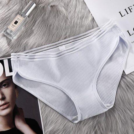 New Women's Sexy Panties, Cotton Briefs, Lace Rise Lingerie, Striped 3