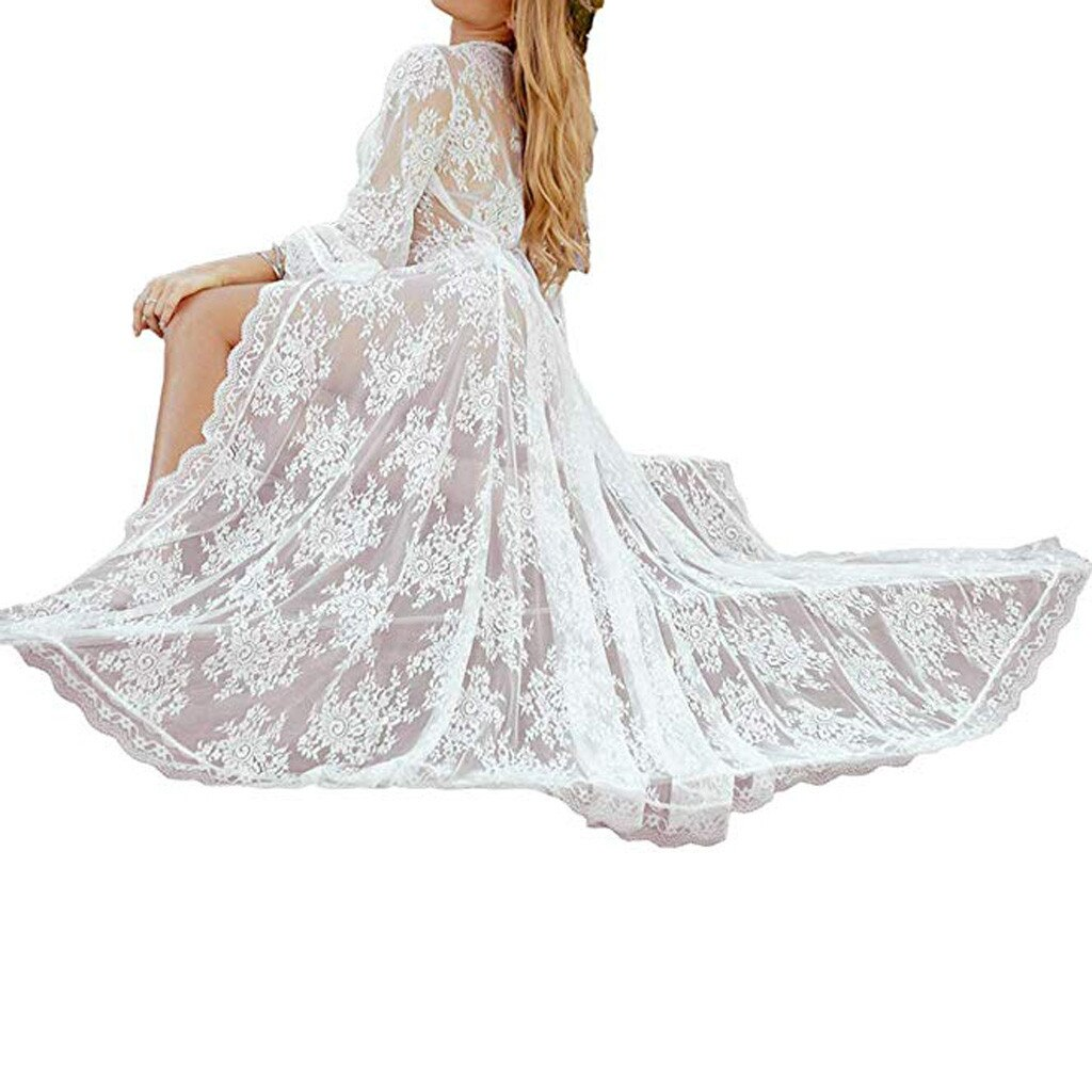 Women Bathrobe Sexy Long Dress Sheer Gown See Through Lingerie Cardigan Lace Sexy Nightwear Plus Size Women Peignoir Femme 2019 2